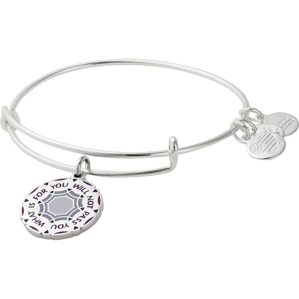 "ALEX AND ANI : ""What Is for You Will Not Pass You"" Charm Bangle in Shiny Silver"