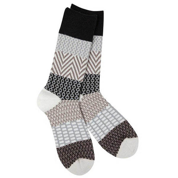 World's Softest : Women's Gallery Crew Socks in Nightfall - Black/Grey/Tan