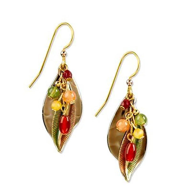 Silver Forest Earrings - Gold Leaf With Beads Dangle