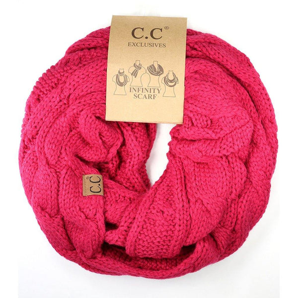 Solid Cable Knit CC Infinity Scarf - Hot Pink