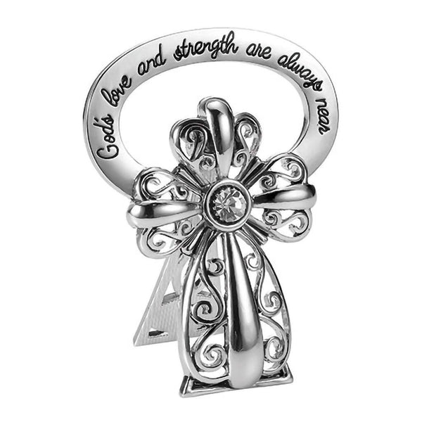 God's Love Filigree Crystal Beside Cross Collectible Figurine
