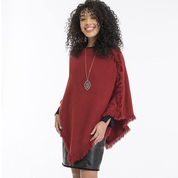Howard's : Red Fringe Zipper Poncho
