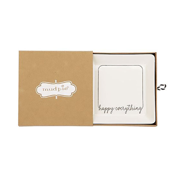 "Mud Pie : Ceramic ""Happy Everything"" Mini Tray"