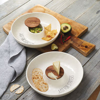 Ceramic Covered Cheese Chip & Dip Serving Bowl