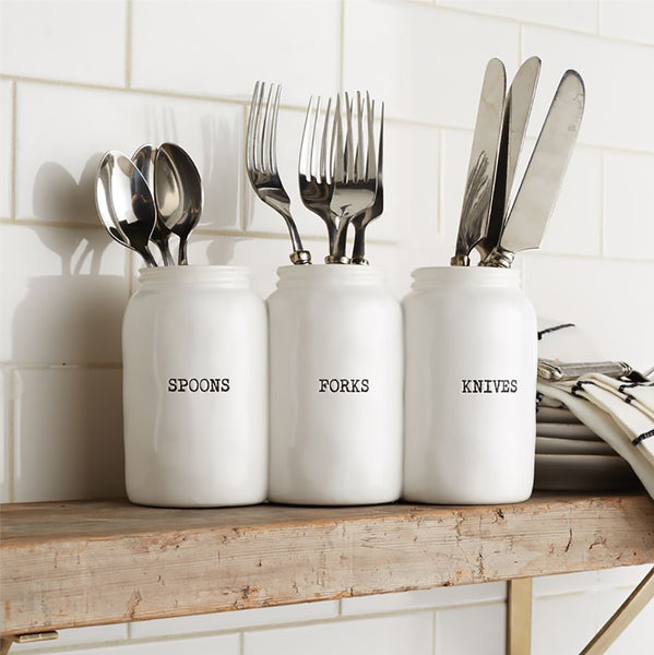 Mud Pie : Ceramic Triple Ceramic Jar Utensil Holder