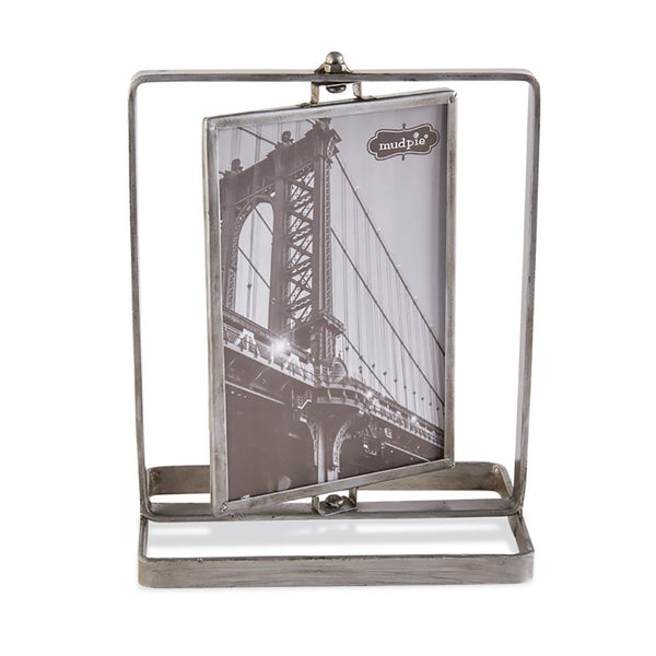 Mud Pie : Large Pressed Glass & Metal Spinning Photo Frame