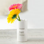 "Mud Pie : Ceramic ""Happy"" Stem Vase"