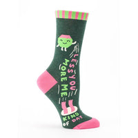 "Blue Q : Women's Crew Socks - ""Less You/More Me"""