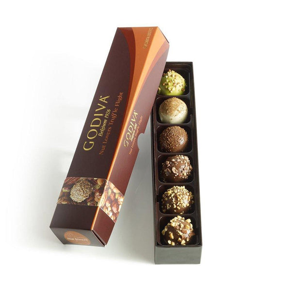 GODIVA : Nut Lovers Truffle Flight, 6 pc.