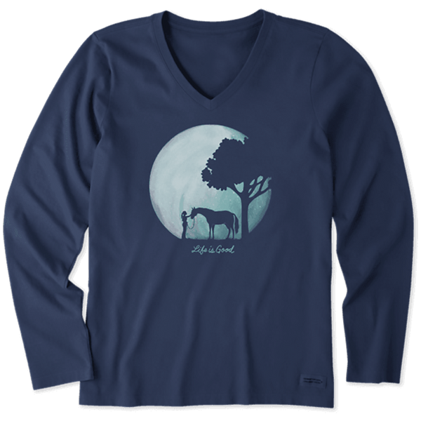 Life Is Good : Women's Celestial Horse Long Sleeve Crusher Vee