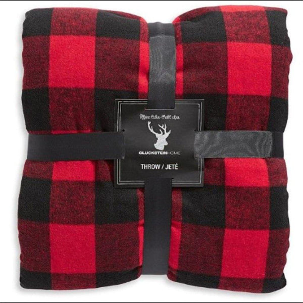 Cozy Sherpa & Fleece Blanket - Red & Black Buffalo Plaid