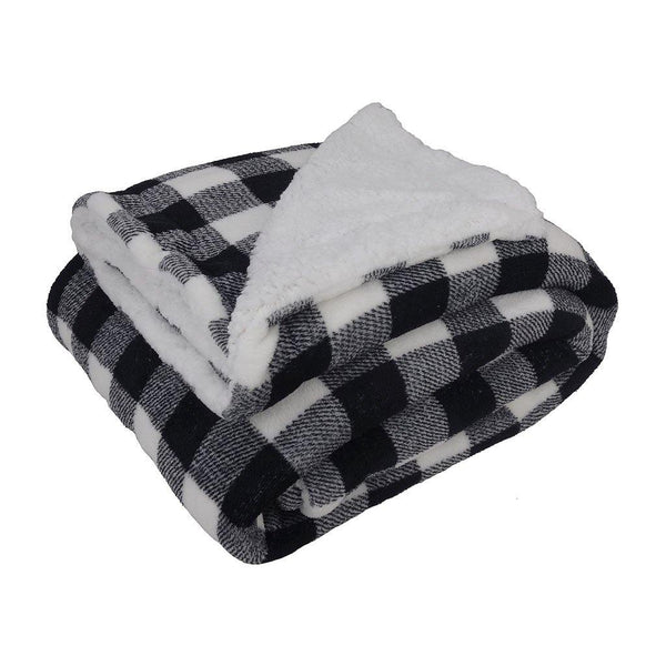 Double Sherpa Blanket in Black Plaid