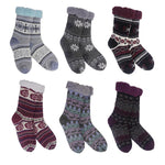 Lodge with Color Sherpa Knit Thermal Slipper Socks (6 Asstd Styles)