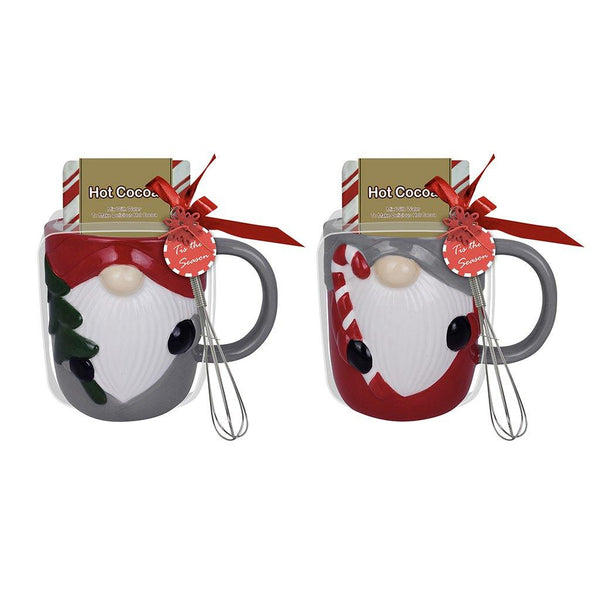 16oz Gnome Icon Mug with Cocoa & Whisk (2 Asstd Colors)