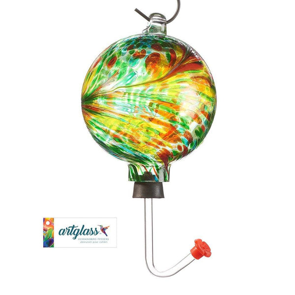 Glass Orb Hummingbird Feeder - Green and Red Multi