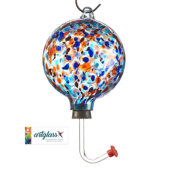 Glass Orb Hummingbird Feeder - Blue and Red