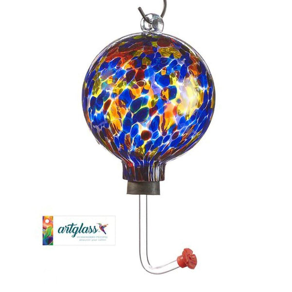 Glass Orb Hummingbird Feeder - Blue Multi
