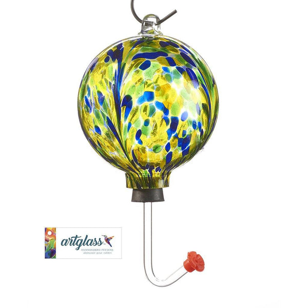 Glass Orb Hummingbird Feeder - Yellow, Blue & Green