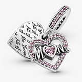 PANDORA : Heart & Mom Dangle Charm - Annie's Hallmark & Gretchen's Hallmark, Sister Stores