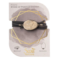 Suede Stone Wrap - Pyrite Gold Stone of Positive Energy