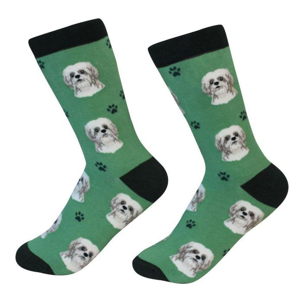 E & S Imports : Pet Lover Socks  - Shih Tzu - Tan