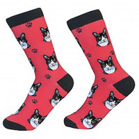 Cat Crew Socks - Black & White Cat