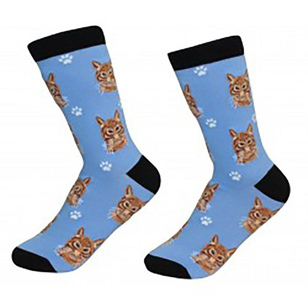 Cat Crew Socks - Tabby Cat Orange