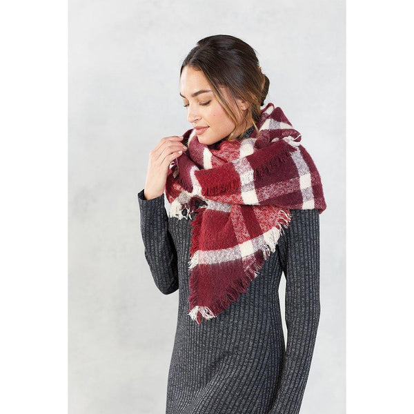 Mud Pie : Rhombus Plaid Scarf (3 Asstd Colors)