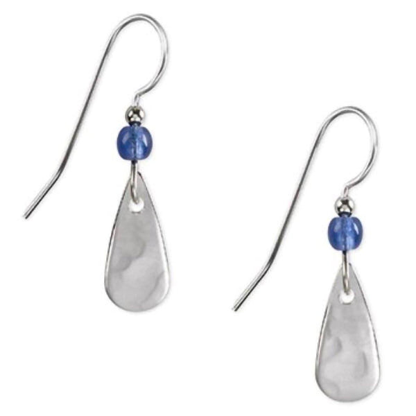 Silver Forest Earrings - Blue Bead Silver Teardrop - Annie's Hallmark & Gretchen's Hallmark, Sister Stores