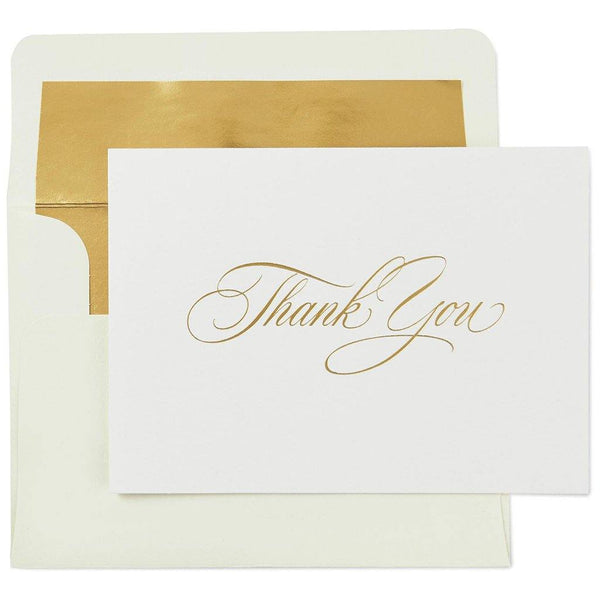 Hallmark : Classic Ivory and Gold Thank You Notes, Box of 10