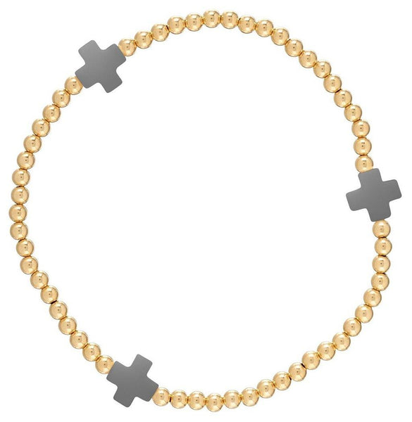 enewton : Signature Cross Bracelet Gold Charcoal