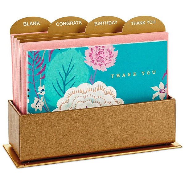 Hallmark : Floral Inspired Assorted Blank Note Cards With Caddy, Box of 24