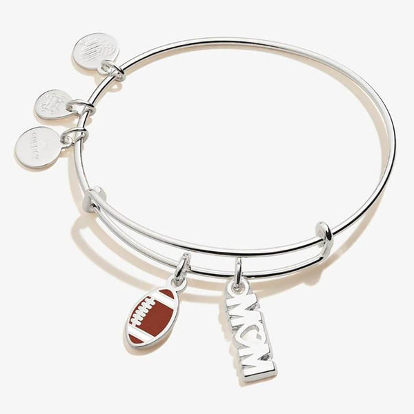 ALEX AND ANI : Football 'Mom' Duo Charm Bangle in Shiny Silver - Annie's Hallmark & Gretchen's Hallmark, Sister Stores