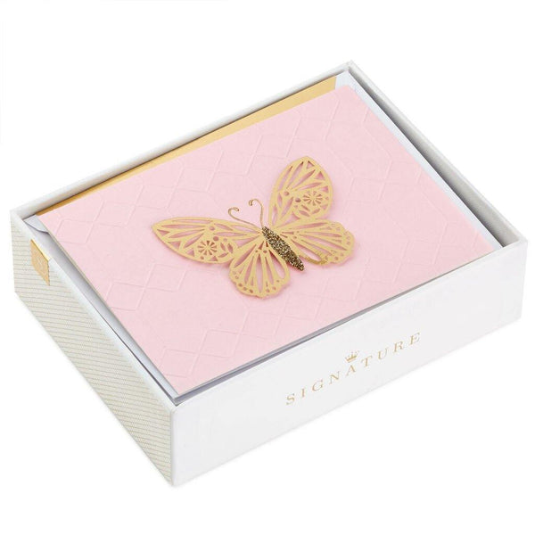 Hallmark : Gold Butterfly on Pink Blank Note Cards, Box of 8