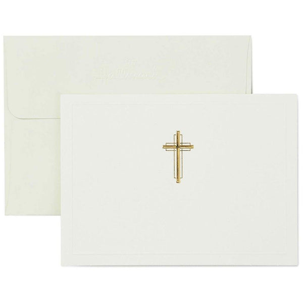 Hallmark : Gold Cross Religious Note Cards, Box of 20
