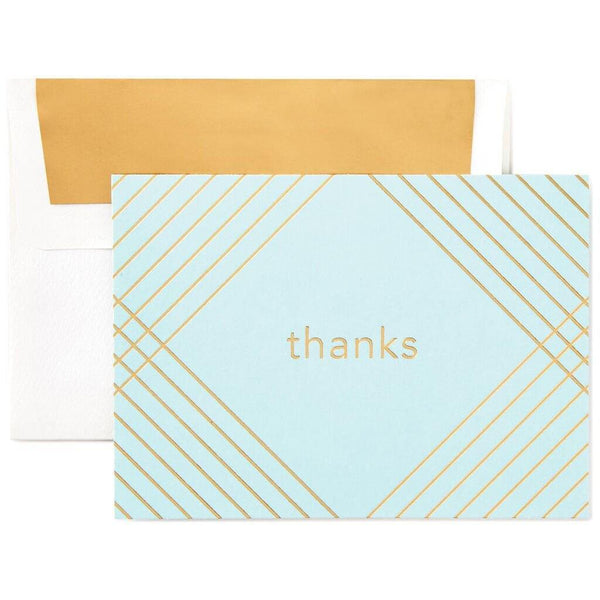 Hallmark : Gold Crosshatch and Aqua Thank You Notes, Box of 10