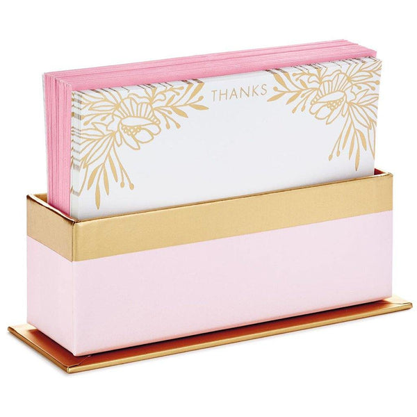 Hallmark : Gold Floral Blank Flat Note Cards With Caddy, Box of 40