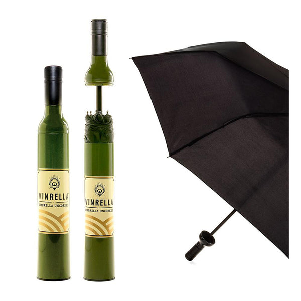 Vinrella : Wine Bottle Umbrella in Labeled Green