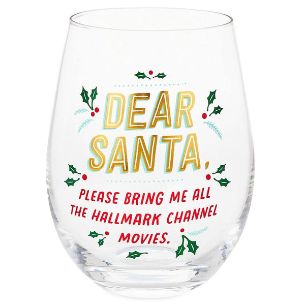 Hallmark : Dear Santa Hallmark Channel Movies Stemless Wine Glass, 17 oz.