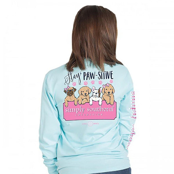 Simply Southern : Stay Paw-sitive Long Sleeve T-Shirt (4 Asstd Sizes)