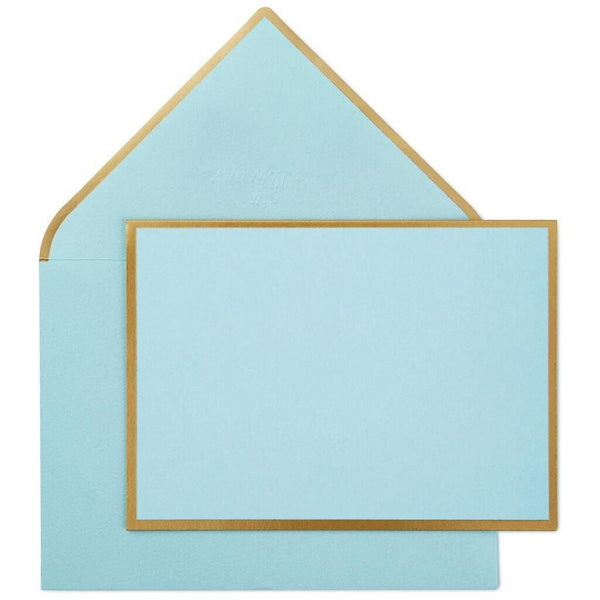 Hallmark : Mint Green and Gold Border Folded Note Cards, Box of 10
