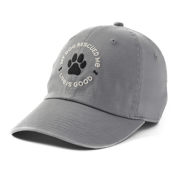 "Life Is Good : ""My Dog Rescued Me"" Sunwashed Chill Cap"