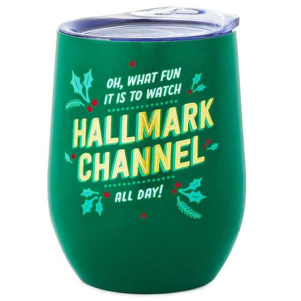 Hallmark : Oh What Fun Hallmark Channel Stainless Steel Wine Tumbler, 11.5 oz.