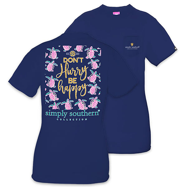 """Don't Hurry, Be Happy"" T-Shirt - Annie's Hallmark Baldoria"