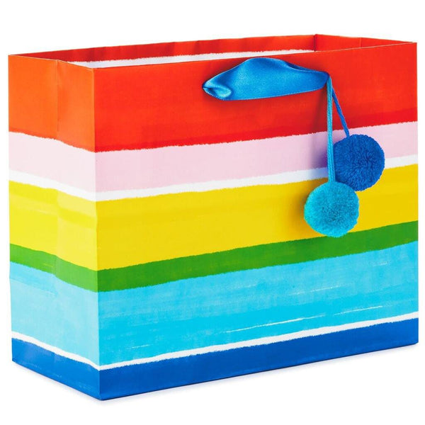 "Hallmark : 7.7"" Horizontal Rainbow Stripes Gift Bag"