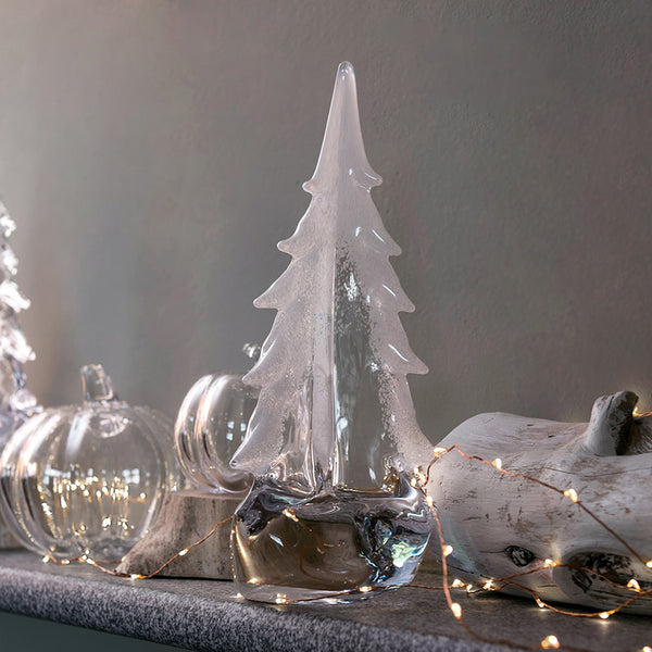 Simon Pearce : Glass Vermont Snowy Evergreen Trees (3 Asstd Sizes) - Annie's Hallmark Baldoria