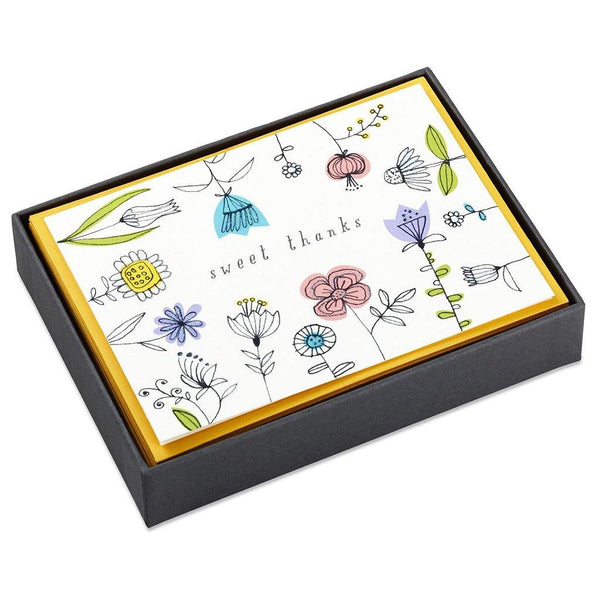Hallmark : Sweet Thanks Illustrated Flowers Blank Thank You Notes, Box of 10