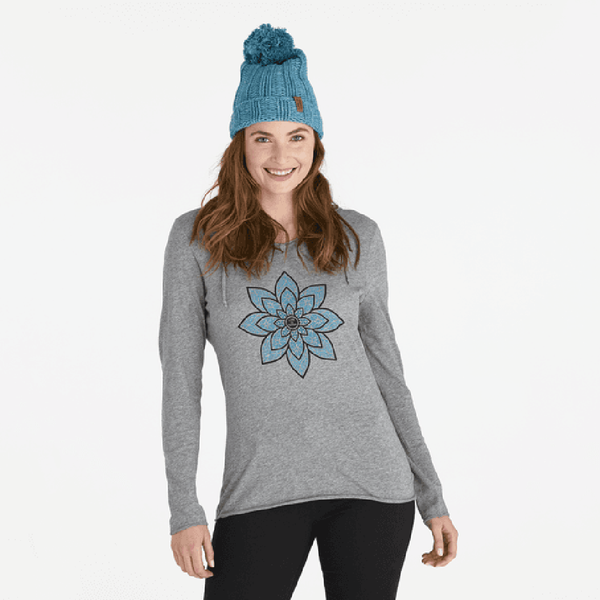 Life Is Good : Women's Geo Daisies Long Sleeve Hooded T-Shirt