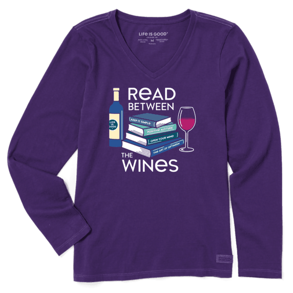 Life Is Good : Women's Read Between The Wines Long Sleeve Crusher Vee (4 Asstd Sizes)