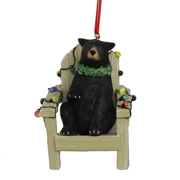 Kurt Adler : Black Bear On Adirondack Chair Ornament